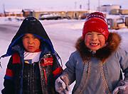 Inupiat six-year-old boys, Jonna and rodney, village of Wainwright, Arctic Coast of Alaska.