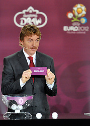ZBIGNIEW BONIEK (POLAND) SHOWS THE TICKET OF ENGLAND DURING THE EUFA EURO 2012 QUALIFYING DRAW IN PALACE SCIENCE AND CULTURE IN WARSAW, POLAND..THE 2012 EUROPEAN SOCCER CHAMPIONSHIP WILL BE HOSTED BY POLAND AND UKRAINE...WARSAW, POLAND , FEBRUARY 07, 2010..( PHOTO BY ADAM NURKIEWICZ / MEDIASPORT / SPORTIDA.COM ).