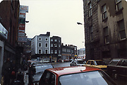 Old amateur photos of Dublin streets churches, cars, lanes, roads, shops schools, hospitals south william st, dublin civic museum, mercey hospital, south kings st, olympia dame st, may 1984