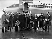 "06/12/1960<br /> 12/06/1960<br /> 06 December 1960<br /> Inaugural flight of new Irish Boeing Jetliner ""Padraig"" to New York. Image shows passengers preparing to depart Dublin Airport (l-r): Mr. P.J. Brennan, Secretary, Aer Lingus-Irish International Airlines; Mr. M.J. Dargan, Assistant General Manager (Commercial), Aer Lingus-Irish International Airlines; Mrs Dunbar, Lady Provost of Edinburgh; Right Honourable J.G. Dunbar, Lord Provost of Edinburgh; Right Honourable E. Robinson, Lord Mayor of Bradford and Mrs Robinson; Mrs Lillian Hammond, Lord Mayor of Leeds; Mrs Dorothy Lewis, Lord Mayor of Cardiff; Right Honourable G.B. Boughton, Lord Mayor of Birmingham; Right Honourable H. Jenkins, Lord Mayor of Bristol and Right Honourable R.G. Kinahan, Lord Mayor of Belfast."