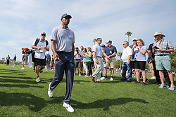 March 15, 2019 - Ponte Vedra Beach, FL, U.S. - PONTE VEDRA BEACH, FL - MARCH 15: Tiger Woods of the United States walks to the first hole during the second round of THE PLAYERS Championship on March 15, 2019 on the Stadium Course at TPC Sawgrass in Ponte Vedra Beach, Fl.  (Photo by David Rosenblum/Icon Sportswire) (Credit Image: © David Rosenblum/Icon SMI via ZUMA Press)