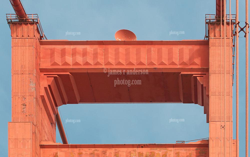 South Tower Detail - Wide, Upper. The Golden Gate Bridge.