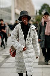 Street style, model Malika Louback after Ludovic de Saint Sernin Spring Summer 2022 show, held at Institut du Monde Arabe, Paris, France, on Ocotber 3rd, 2021. Photo by Marie-Paola Bertrand-Hillion/ABACAPRESS.COM