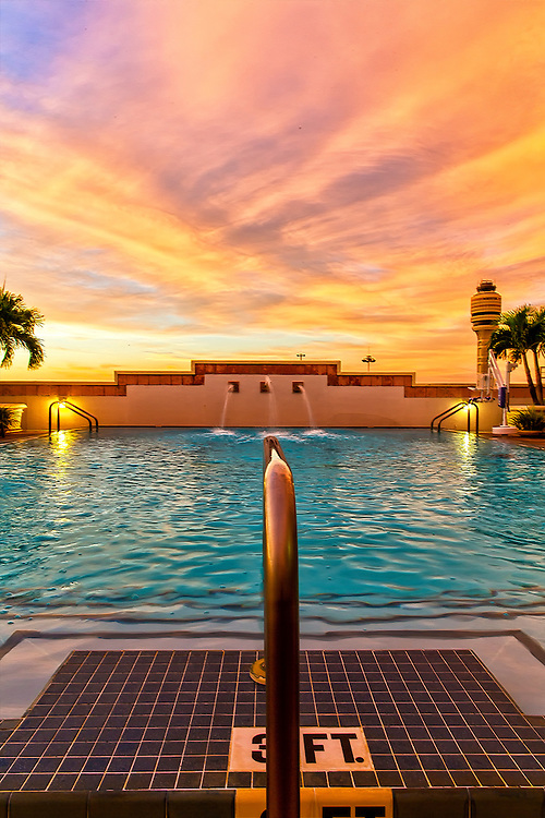 Another view from the rooftop swimming poo at the Hyatt Regency Orlando International Airport Hotel at sunrise