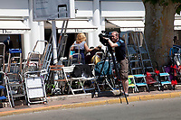 Filming the preperations underway outside Palais des festivals for the 70th Cannes Film Festival starting 17th May. Cannes, France, Tuesday 16th May 2017