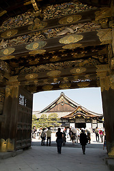 Asia, Japan, Honshu island, Kyoto, entrance to Nijo Castle, built in 1626 to be the Kyoto residence of the Tokugawa Shoguns