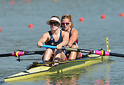 Sydney, Australia. Team USA, Women's pair USA W2-. Caroline LIND and Meghan MUSNICKI, move away from the start  in the Women's Open pair, Sydney International Rowing Regatta. Sydney International Rowing Centre, Penrith Lakes, NSW.   Thursday   21/03/2013 [Mandatory Credit. Peter Spurrier/Intersport Images].. Factor 50 Applied