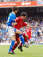Photo: Ashley Pickering.<br /> Ipswich Town v Cardiff City. Coca Cola Championship. 06/05/2007.<br /> Steven Thompson of Cardiff (R) holds off Alex Bruce of Ipswich