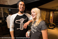 Revial's Julia Berry and Alec Padron at the after-Party at Revival Cycles on Sunday after the Handbuilt Motorcycle Show. Austin, TX. April 12, 2015.  Photography ©2015 Michael Lichter.