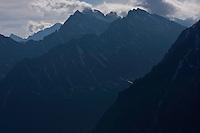 Mount Koprovsky stit (2363m asl) and Mengusovsky stit (2438m als) with clouds. High Tatras, Slovakia. June 2009. Mission: Ticha
