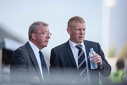 Alex Smith with Falkirk's manager Gary Holt.<br /> Falkirk 3 v 1 Morton, Scottish Championship 17/8/2013.<br /> ©Michael Schofield.