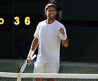 Tennis - 2019 Wimbledon Championships - Week One, Wednesday (Day Three)<br /> <br /> Men's singles, 2nd Round: Kyle Edmund (GBR) v Fernando Verdasco (ESP)<br /> <br /> Fernando Verdasco celebrates winning match point  on  Centre Court <br /> <br /> COLORSPORT/ANDREW COWIE