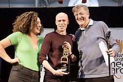 Jordan Brookes, winner of the Best Show at the Edinburgh Comedy Awards, with last year's winner Rose Matafeo and Stephen Fry, winner in 1981, Dovecot Studios. pic. Terry Murden @edinburghelitemedia