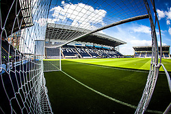 The Main Stand at The Falkirk Stadium, with the new pitch, for the Scottish Championship game v Hamilton. The woven GreenFields MX synthetic turf and the surface has been specifically designed for football with 50mm tufts compared with the longer 65mm which has been used for mixed football and rugby uses.  It is fully FFA two star compliant and conforms to rules laid out by the SPL and SFL.<br /> ©Michael Schofield.