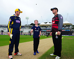 Liam Dawson of Hampshire and Jim Allenby of Somerset at the toss.  - Mandatory by-line: Alex Davidson/JMP - 02/08/2016 - CRICKET - The Ageas Bowl - Southampton, United Kingdom - Hampshire v Somerset - Royal London One Day