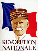 Wartime French Vichy poster showing Marshall Petain. circa 1940-44