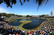 May 13, 2017; Ponte Vedra Beach, FL, USA; An overall view of the 17th hole as Jason Day putts during the third round of The Players Championship golf tournament at TPC Sawgrass - Stadium Course. Mandatory Credit: Peter Casey-USA TODAY Sports