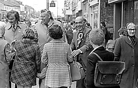 Johnny McQuade, aka John McQuade, Democratic Unionist Party, candidate,  West Belfast in the UK General Election October 1974, canvassing support on the Shankill Road. He is accompanied by DUP leader Rev Ian Paisley, left, and Ulster Unionist politician, John Laird. McQuade was unsuccessful. 197410090526d<br /> <br /> Copyright Image from Victor Patterson, 54 Dorchester Park, Belfast, UK, BT9 6RJ<br /> <br /> t1: +44 28 9066 1296 (from Rep of Ireland 048 9066 1296)<br /> t2: +44 28 9002 2446 (from Rep of Ireland 048 9002 2446)<br /> m: +44 7802 353836<br /> <br /> victorpattersonbelfast@gmail.com<br /> victorpatterson@me.com<br /> <br /> www.victorpatterson.com<br /> <br /> Please see my Terms and Conditions of Use at https://www.victorpatterson.com/page2<br /> It is IMPORTANT that you familiarise yourself with them.<br /> <br /> Images used on the Internet incur an additional cost and must be visibly watermarked i.e. © Victor Patterson within the body of the image and copyright metadata must not be deleted. Images used on the Internet have a size restriction of 4kbs and are chargeable at rates available at victorpatterson.com.<br /> <br /> This image is available only for the use of the download recipient i.e. television station, newspaper, magazine, book publisher, etc, and must not be passed on to any third party. It is also downloaded on condition that each and every usage is notified within 7 days to victorpatterson@me.com<br /> <br /> The right of Victor Patterson (or the named photographer) to be identified as the author is asserted in accordance with The Copyright Designs And Patents Act (1988). All moral rights are asserted.