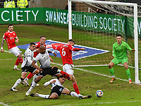 Football - 2020 / 2021 Sky Bet Championship - Swansea City vs Barnsley - Liberty Stadium<br /> <br /> Mads Andersen of Barnsley  is made to shoot wide of goal by the Swansea defence<br /> COLORSPORT/WINSTON BYNORTH