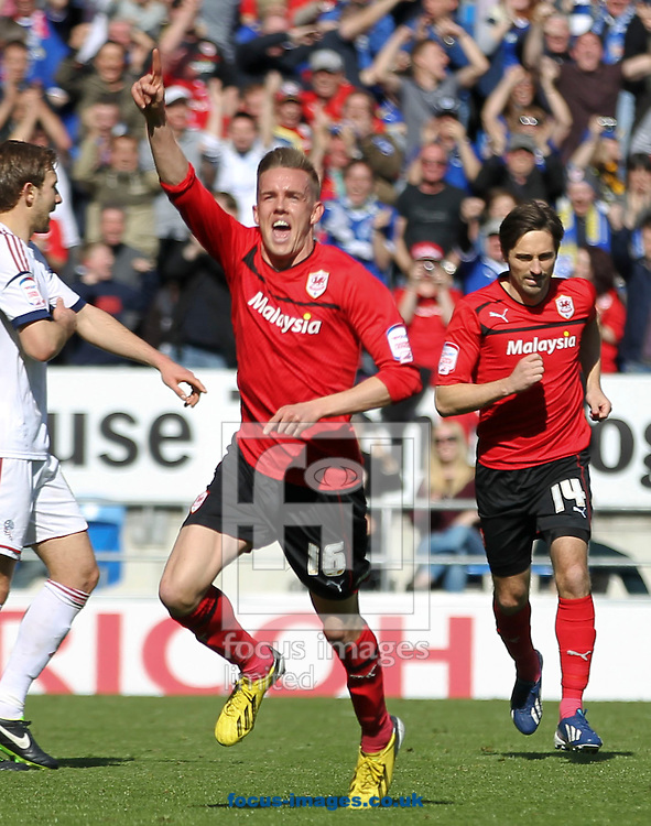 Picture by Mike  Griffiths/Focus Images Ltd +44 7766 223933.27/04/2013.Craig Noone of Cardiff City celebrates his goal against Bolton Wanderers during the npower Championship match at the Cardiff City Stadium, Cardiff.