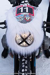 Roman Soldatov's Abominable Snowman adorned BMW rnineT at the Baikal Mile Ice Speed Festival. Maksimiha, Siberia, Russia. Thursday, February 27, 2020. Photography ©2020 Michael Lichter.