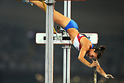Russia's Elena Isinbaeva jumps over 5.05 m, establishing a wold record, during women's pole vault final competition in Beijing Olympics, on August 18, 2008, in Beijing, China. Photo by Lucas Schifres/Pictobank/Cameleon/ABACAPRESS.COM