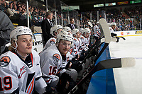 KELOWNA, BC - NOVEMBER 16: Zane Franklin #16 of the Kamloops Blazers sits on the bench against the Kelowna Rockets  at Prospera Place on November 16, 2019 in Kelowna, Canada. (Photo by Marissa Baecker/Shoot the Breeze)