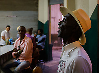 HAVANA, CUBA - CIRCA MARCH 2017:  Man singing at the Bar El Angel de Tejadillo in Havana.