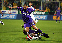 "Firenze 26/9/2007 (Italy) Stadium ""Artemio Franchi"" Serie A Championship match day 5 A.C.F.Fiorentina-A.S.Roma<br /> Christian Vieri of Fiorentina (purple) and Matteo Ferrari of Roma (white) in the action of the penalty kick by 2-2 during the match. Fiorentina and Roma 2-2.<br /> Photo by Gianni Nucci/Insidefoto"