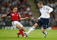 Photo: Richard Lane/Sportsbeat Images.<br />England v Germany. International Friendly. 22/08/2007. <br />England's David Beckham challenges Germany's Phillip Lahm.