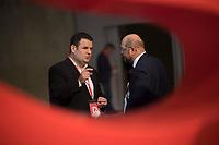DEU, Deutschland, Germany, Berlin, 06.12.2019: Bundesarbeitsminister Hubertus Heil (SPD) im Gespräch mit Martin Schulz (SPD) beim Bundesparteitag der SPD im CityCube.