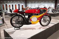 1967 Bridgestone 350 GTR Road Racer from the Jill and John Parham Collection at the National Motorcycle Museum on view in the What's the Skinny Exhibition (2019 iteration of the Motorcycles as Art annual series) at the Sturgis Buffalo Chip during the Sturgis Black Hills Motorcycle Rally. SD, USA. Friday, August 9, 2019. Photography ©2019 Michael Lichter.