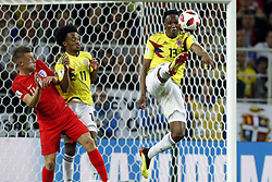 (l-r) Jamie Vardy of England, Juan Cuadrado of Colombia, Yerry Mina of Colombia during the 2018 FIFA World Cup Russia round of 16 match between Columbia and England at the Spartak stadium  on July 03, 2018 in Moscow, Russia