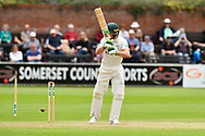 Wicket - Ben Cox of Worcestershire is bowled by Josh Davey of Somerset during the Specsavers County Champ Div 1 match between Somerset County Cricket Club and Worcestershire County Cricket Club at the Cooper Associates County Ground, Taunton, United Kingdom on 22 April 2018. Picture by Graham Hunt.