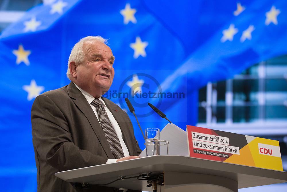 Hamburg, Germany - 07.12.2018<br /> <br /> Chairman of the EPP Joseph Daul. 31st federal party conference of the CDU Germany in Hamburg. After 18 years, Angela Merkel resigns as CDU party leader.<br /> <br /> Vorsitzender der  EVP Joseph Daul auf dem 31. Bundesparteitag der CDU Deutschland in Hamburg. Nach 18 Jahren tritt Angela Merkel als Parteivorsitzende zurueck.<br /> <br /> Photo: Bjoern Kietzmann