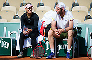 Angelique Kerber of Germany with coach Torben Beltz during practice ahead of the Roland-Garros 2021, Grand Slam tennis tournament, Qualifying, on May 28, 2021 at Roland-Garros stadium in Paris, France - Photo Rob Prange / Spain ProSportsImages / DPPI / ProSportsImages / DPPI