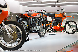 Display with Harley-Davidson race bikes including the 1972 XRTT Road Racer, 1977 XR-750 Dirt Tracker and 1978 MX-250 Motocross bike at the Harley-Davidson Museum during the Milwaukee Rally. Milwaukee, WI, USA. Saturday, September 3, 2016. Photography ©2016 Michael Lichter.
