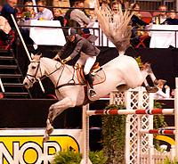 Rikstoto Grand Prix, Oslo Horse Show, Oslo Spektrum 19.10.02 <br /> Saturday, October 19th 2002. BULL'S CHESAPEAK BLUE - Connie BULL (NOR)    <br /> Foto: Geir Egil Skog, Digitalsport
