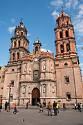The Baroque facade of the Cathedral of San Luis Potosi in the historic center on the Plaza De Armas in the state capital of San Luis Potosi, Mexico. Also known as the San Luis Potosi Metropolitan Cathedral, it is consider the most important monument in the state and the first Baroque style building constructed in 1670 on the site of a parish church first built in 1593.