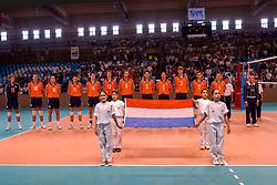 29-09-2002 ARG: World Championships Netherlands - Greece, Salta<br /> Team Netherlands line up<br /> Griekenland - Nederland  0-3<br /> WORLD CHAMPIONSHIP VOLLEYBALL 2002 ARGENTINA<br /> SALTA / 29-09-2002