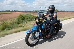 Jessie Law riding Joe Burch's 1928 Harley-Davidson JDH in the Motorcycle Cannonball coast to coast vintage run. Stage 7 (274 miles) from Cedar Rapids to Spirit Lake, IA. Friday September 14, 2018. Photography ©2018 Michael Lichter.