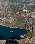 Skydiving from Kjaerag in Lysefjorden starting at 1000 metres above the sea level ending directly into the fjord.
