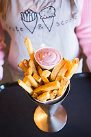Fritte and Scoop, a small artisan ice creamery and fench fry restaurant in Astoria, Oregon.