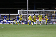Peterborough United striker Paul Taylor (10) puts Peterborough 2-1 up during the EFL Cup match between Peterborough United and AFC Wimbledon at ABAX Stadium, Peterborough, England on 9 August 2016. Photo by Stuart Butcher.