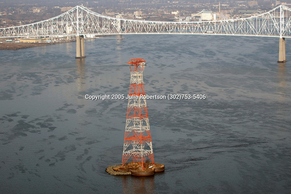 Aerial Photograph of he Commodore Barry Bridge & Delaware River view northwest radio tower
