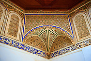 Arabesque plasterwork and Bath room of the  Alaouite Ksar Fida built by Moulay Ismaïl the second ruler of the Moroccan Alaouite dynasty ( reigned 1672–1727 ). Residence of the Khalifa or Caid of Tafilalet until 1965. Tafilalet Oasis, near Rissini, Morocco .<br /> <br /> Visit our MOROCCO HISTORIC PLAXES PHOTO COLLECTIONS for more   photos  to download or buy as prints https://funkystock.photoshelter.com/gallery-collection/Morocco-Pictures-Photos-and-Images/C0000ds6t1_cvhPo<br /> .<br /> <br /> Visit our ISLAMIC HISTORICAL PLACES PHOTO COLLECTIONS for more photos to download or buy as wall art prints https://funkystock.photoshelter.com/gallery-collection/Islam-Islamic-Historic-Places-Architecture-Pictures-Images-of/C0000n7SGOHt9XWI