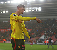 Football - 2017 / 2018 FA Cup - Fourth Round : Southampton vs. Watford<br /> <br /> Jose Holebas of Watford responds to the frustration aimed at him and the rest of the Watford side after the final whistle at St Mary's Stadium Southampton<br /> <br /> COLORSPORT/SHAUN BOGGUST
