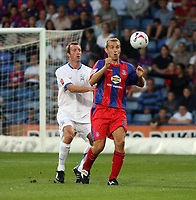 Photo: Chris Ratcliffe.<br /> Crystal Palace v Southend United. Coca Cola Championship. 08/08/2006.<br /> Spencer Prior (L) of Southend clashes with James Scowcroft of Crystal Palace.