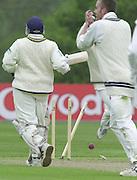 Shenley, Middlsex. ENGLAND, Sri Lanka Tour match.<br /> Photo Peter Spurrier<br /> 11/05/2002<br /> Sport - Cricket - Middlesex vs Sri Lanka -Shenley:<br /> de Silva races back to he crease as a throw from Middlex's Ben Hutton strikes the stumps.                             [Mandatory Credit:Peter SPURRIER/Intersport Images]