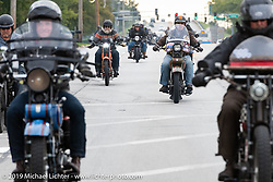 Terry Richardson on his 1916 Harley Davidson J in a pack riding out of Bourbonnais on the Motorcycle Cannonball coast to coast vintage run. Stage 6 (260 miles) from Bourbonnais, IL to Cedar Rapids, IA. Thursday September 13, 2018. Photography ©2018 Michael Lichter.